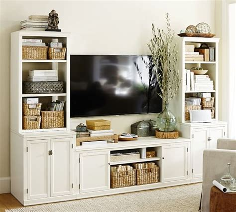 pottery barn media logan media suite with door bookcase pottery barn