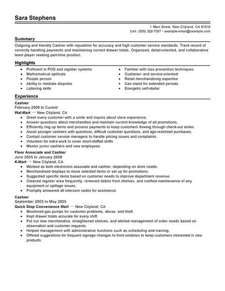 best part time cashiers resume exle livecareer