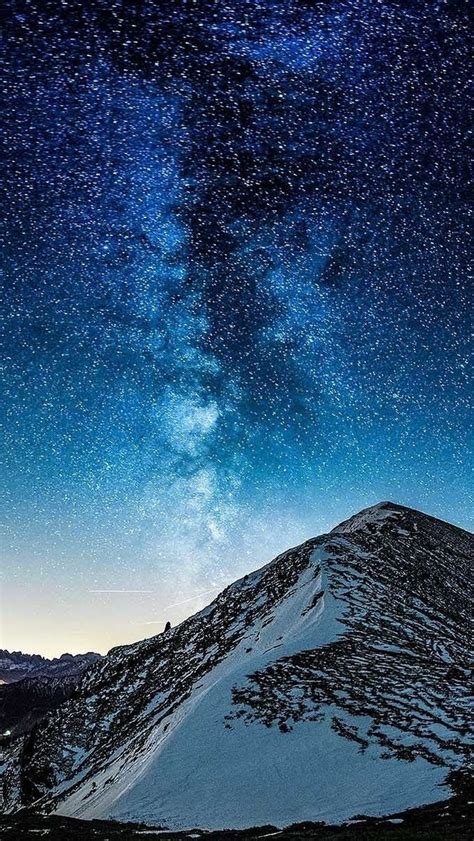 Milky Way Galaxy View From Mountain Iphone Wallpaper