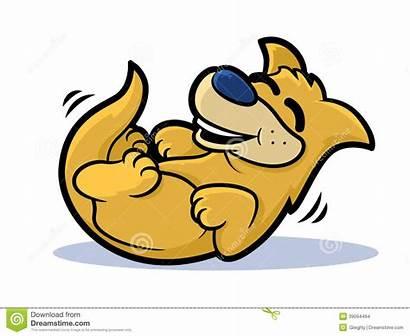 Laughing Dog Rolling Cartoon Smiling Illustration Labrador