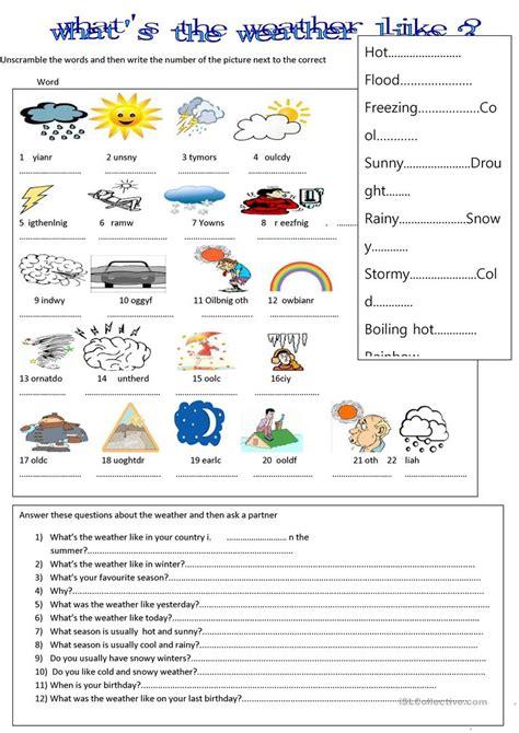 what s the weather like worksheet free esl printable