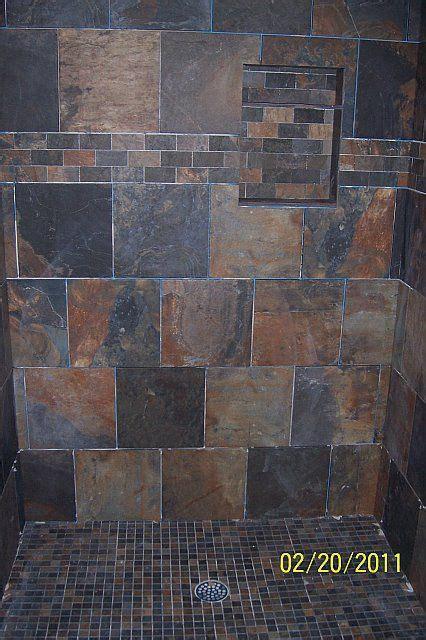 images  slate tile showers  pinterest