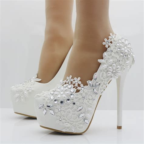 wedding shoes for flower heels fashion white lace flower rhinestone pumps 1113