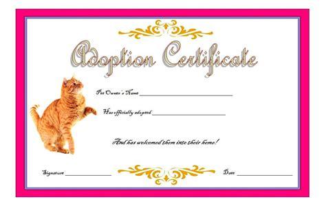 cat adoption certificate templates   update designs