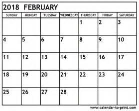 Monthly Printable Calendar February 2018