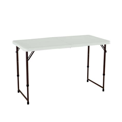 lifetime 4 ft table lifetime 4 ft almond adjustable height fold in half table