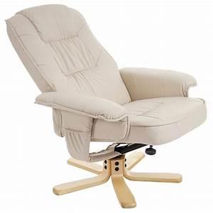 Fauteuil Simili Cuir : fauteuil relax en simili cuir cr me pied en bois si ge pivotant fal04029 d coshop26 ~ Teatrodelosmanantiales.com Idées de Décoration