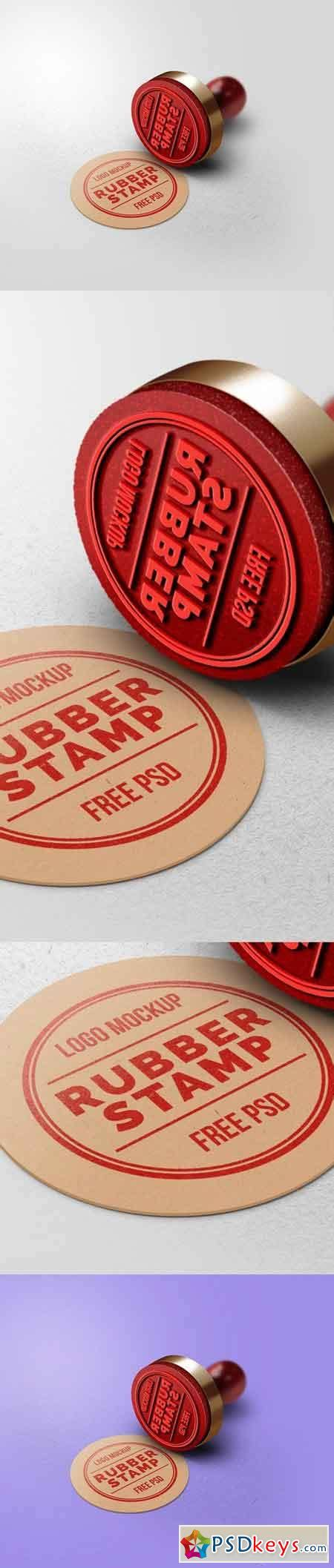 rubber stamp logo mockup   photoshop vector