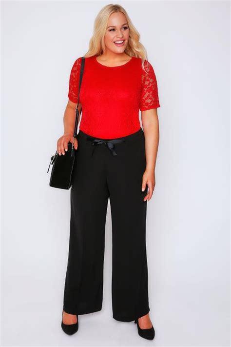 black wide leg trousers  ribbon waist  size