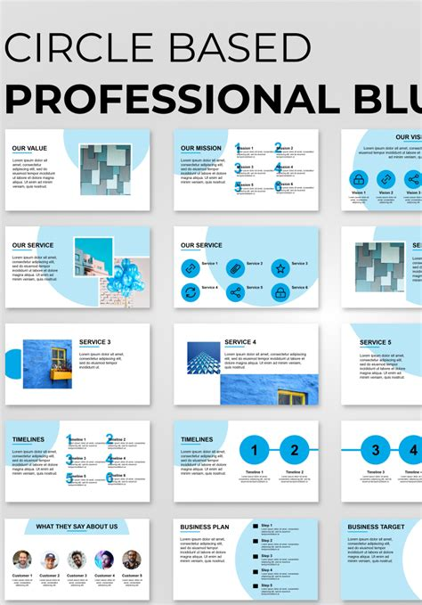 Consulting Professional Blue PowerPoint Template #89836
