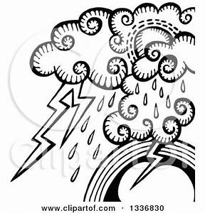 Clipart of a Sketched Black and White Doodle of Storm ...