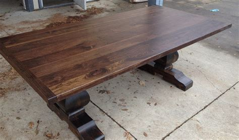 Black Walnut Sculpted Base Trestle Table  Table And