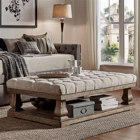 Large Cushioned Ottoman by Cushioned Coffee Table Ottoman Grey In 2019 Sofa End