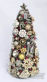 something created everyday vintage jewelry christmas tree in 3 d