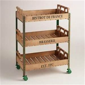 Rustic 3-Shelf Rolling Kitchen Cart Rolling Carts, Wood