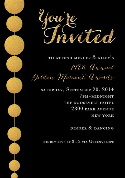golden beads invitations  black grand opening