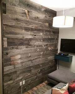 reclaimed grey barn board feature wall by barnboardstore With barn board interior walls