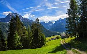 nature, , landscape, , mountain, , alps, , valley, , path, , forest, , summer, , clouds, , grass, , trees, , hut