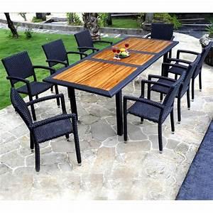 Table Teck Jardin : mobilier de jardin en teck et resine tressee ensemble de jardin 8 fauteuils resine ~ Teatrodelosmanantiales.com Idées de Décoration