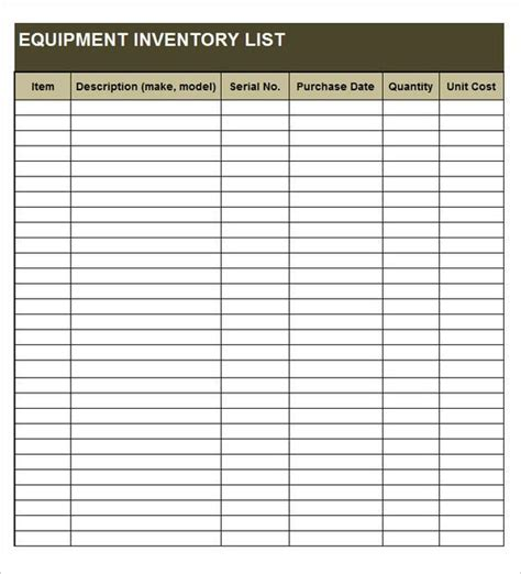 equipment inventory list templates inventory management