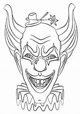 Clown Coloring Face Pages sketch template