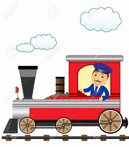 Train Clipart Conductor Driver Subway Smile Cartoon