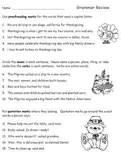 thanksgiving grammar review worksheet for second grade