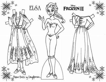 Elsa Dolls Paper Coloring Frozen Doll Anna