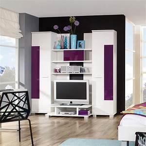 Tv Möbel Modern : tv wohnwand anbauwand schrankwand in weiss und brombeere ebay ~ Sanjose-hotels-ca.com Haus und Dekorationen