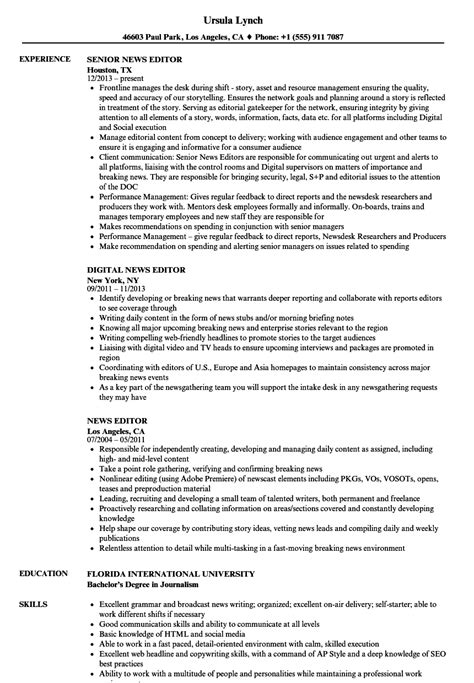Resume Editor by News Editor Resume Sles Velvet