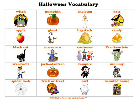 Halloween Vocabulary Printable Chart And Learn Along Video. Kitchen Design Galley Ideas. Pumpkin Carving Ideas Templates. Design Driveway Ideas. Valentine's Day Ideas Jax Fl. Party Ideas Plants Vs Zombies. Ideas Decoracion Terrazas Aticos. Bar Outfit Ideas Summer. Gift Ideas Ring Bearer