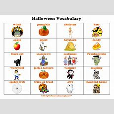 Halloween Vocabulary Printable Chart And Learn Along Video