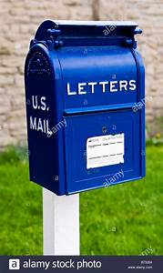 Image of an old fashioned blue metal us mail letter box for Old fashioned letter box