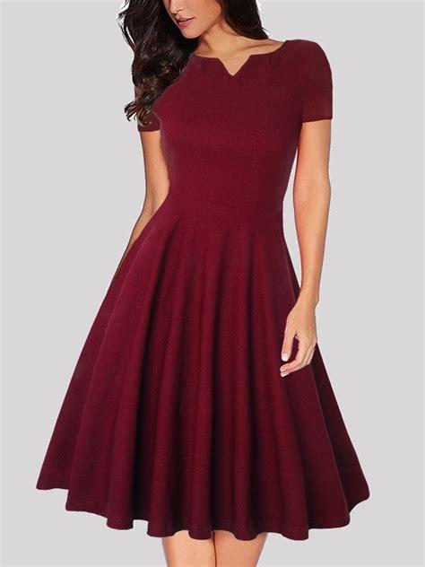 wine red pleated  neck short sleeve vintage wedding prom