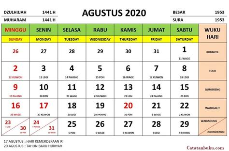 Kalender Bulan Agustus 2020 Nasional dan Jawa - Kutip ID