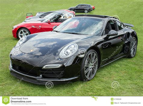 porsche sports car black black porsche 911 turbo front editorial stock photo