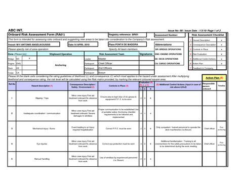 Risk Assessment Template Assessment Construction Risk Assessment Template
