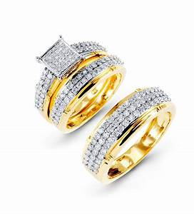 Bridal sets gold bridal sets diamond wedding rings for Gold wedding ring sets