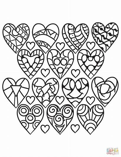 Coloring Hearts Pages Pattern Adults Heart Printable