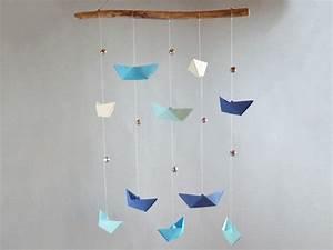 Mobile Basteln Origami : traumf nger mobiles klingendes origami mobile schiffe blaut ne ein designerst ck von ~ Orissabook.com Haus und Dekorationen