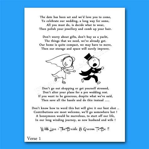 wedding cash money voucher request poems  invites cheap