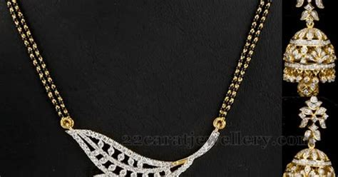 Mangalsutra With Diamond Locket And Jhumkas  Jewellery. 3.6 Carat Diamond. Solen Diamond. Twist Diamond. Skin Diamond. Bauxite Diamond. Clk Diamond. Calligraphy Diamond. Tufted Diamond