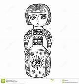 Ethnic Coloring Patterns Doodle Statue Adults Sculpture Doll Tattoo Shirt sketch template