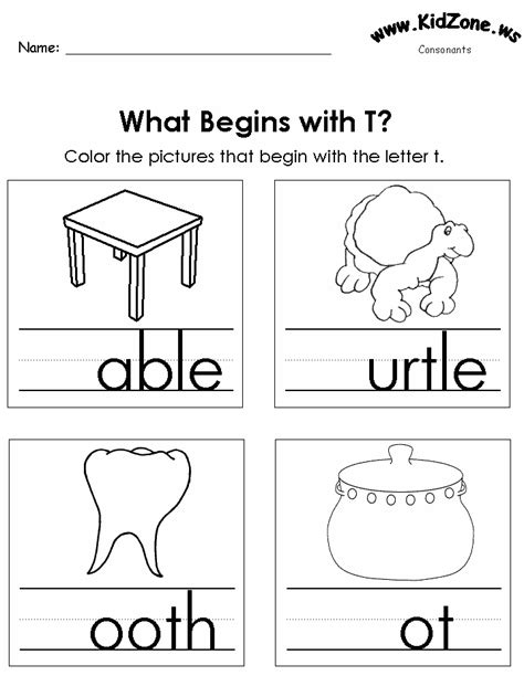 letter t activities color the pictures beginning letter sounds