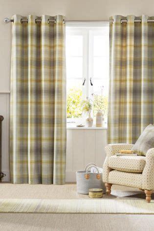 buy ochre cosy woven check eyelet curtains