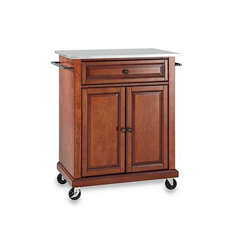 cherry kitchen island cart buy crosley stainless top rolling portable kitchen cart island in cherry from bed bath beyond