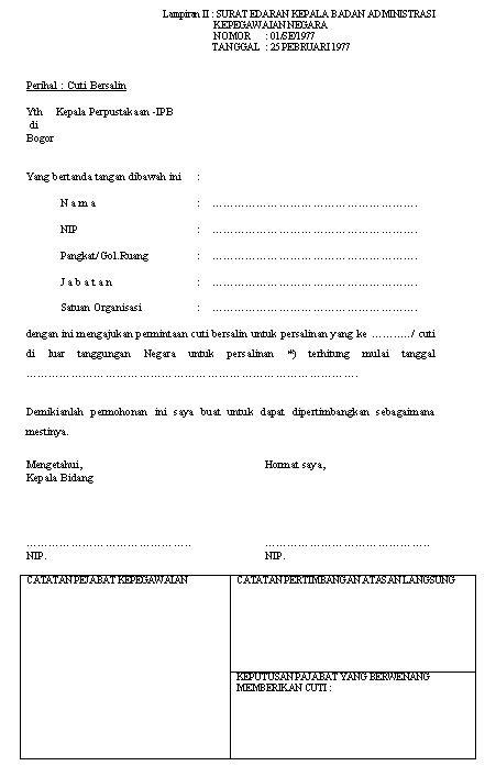 Contoh Blangko Lop Pelamar Kerja by File Formulir Cuti Bersalin