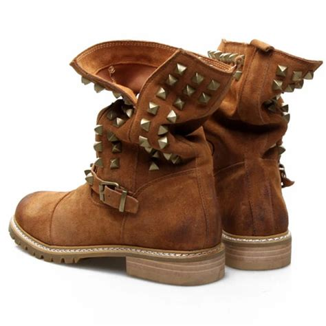 style motorcycle boots lilystyle british style rivets round toe flat heel