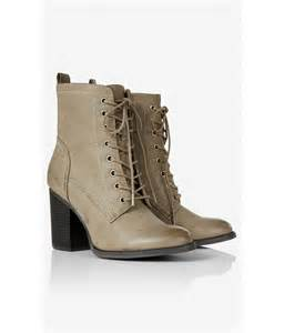 Express Grey Lace Up Heeled Boots