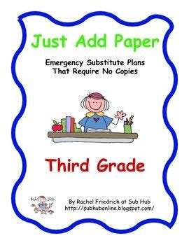Pay Teachers Teaching And The O 39 Jays On Just Add Paper Third Grade Emergency Sub Plans Paper